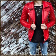 New New Men's Genuine Lambskin Leather Jacket Red Slim fit Biker Motorcycle Jacket. Mens Coats Jackets from top store Leather Fashion, Mens Fashion, Fashion Tips, Lambskin Leather Jacket, Leather Jackets, Men's Leather, Real Leather, Revival Clothing, Men's Clothing