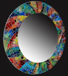 Mosaic Mirror - love the color and nice use of scrap glass. Mirror Mosaic, Mirror Tiles, Mosaic Art, Mosaic Glass, Mosaic Tiles, Stained Glass, Glass Art, Sea Glass, Mosaic Crafts