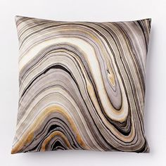 Marble Print Silk Pillow Cover - Feather Gray #westelm for the chair in the library