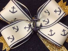 US Navy Anchor Blue and Glitter Gold Hair by TheGaudyGirlExchange, $6.50