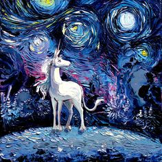 Last Unicorn Art - Starry Night Giclee print van Gogh Never Saw The Last by Aja 8x8, 10x10, 12x12, 20x20, and 24x24 inches choose your size by SagittariusGallery on Etsy https://www.etsy.com/ca/listing/264772727/last-unicorn-art-starry-night-giclee