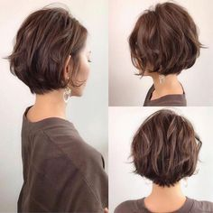 Bob Hairstyles For Thick, Cool Hairstyles, Japanese Hairstyles, Wedding Hairstyles, Hairstyle Ideas, Japanese Short Hairstyle, Women Short Hairstyles, Short Wavy Haircuts, Brown Hairstyles