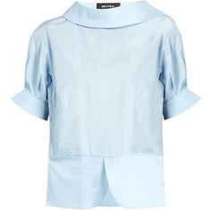 Muveil Wool-knit trimmed cotton-poplin shirt (8 425 ZAR) ❤ liked on Polyvore featuring tops, light blue, blue shirt, light blue short sleeve shirt, cotton poplin shirt, light blue shirt and panel shirts