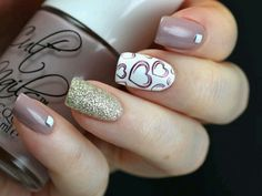 Plum gray and white nail art design. A very cute nail art design with silver glitter and heart details in plum nail polish painted on top of a white nail polish background. Fancy Nails, Cute Nails, Pretty Nails, Sparkle Nails, Gold Sparkle, Glitter Nails, Grey Nail Art, Gray Nails, White Nail
