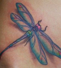 Nice blue dragonfly tattoo