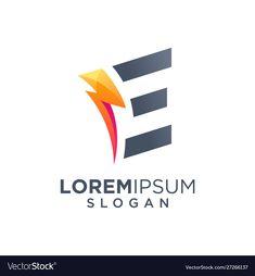 Letter e bolt logo design vector image on VectorStock Web Design, Logo Design, Graphic Design, Letter E, Single Image, Slogan, Adobe Illustrator, Vector Free, Company Logo