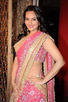 Actress sonakshi-sinha-pink-saree-photos