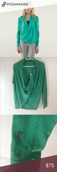 Lululemon Iconic Wrap Pullover Sweater Green So cute ! Excellent condition ! Size 6 lululemon athletica Sweaters