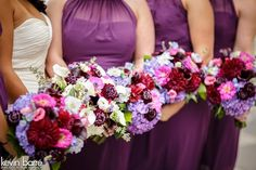 Ultra violet floral mixed with other purples and ivories for beautiful bride and bridesmaid bouquets. Photo by Kevin Barre, Wedding Planning by Bella Baxter Events, Floral by The Garden District Memphis