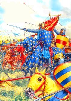 King Philip August leading the charge of the French noble knights at the Battle of Bouvines