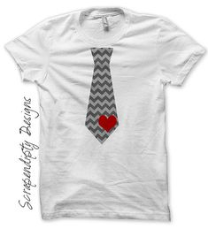 Iron On Tie Shirt PDF   Valentines Day Iron On Transfer / Baby Boy  Valentine Outfit / Chevron Tie With Heart Kids / Toddler Heart Ties