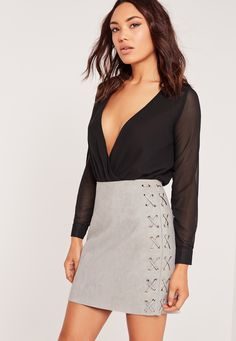 Missguided - Faux Suede Lace Up Side Mini Skirt Grey