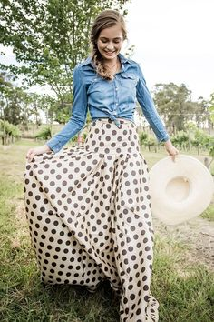 Shop for a beautiful polka dot maxi skirt online at Shabby Apple. Find vintage and retro style modest clothing for women in all colors, sizes, fabrics and styles!