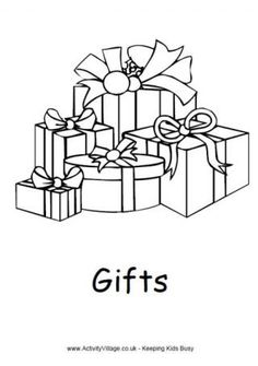 Christmas Gifts Colouring Page