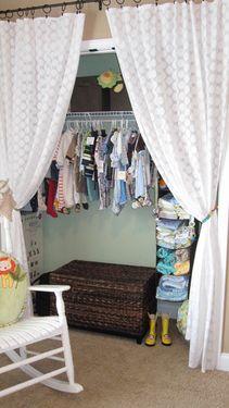 Nursery closet? So organized!  Love the curtains instead of closet doors