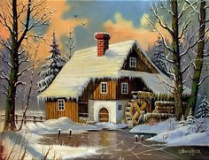 Winter mill - Other Wallpaper ID 1896513 - Desktop Nexus Abstract Landscape Drawings, Landscape Pictures, Landscape Art, Landscape Paintings, Snow Pictures, Art Pictures, Kinkade Paintings, Winter Szenen, Cross Stitch Landscape