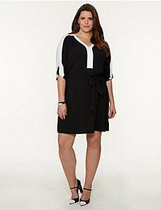 f15c387f16e Colorblock Soft Shirt Dress Trendy Plus Size Clothing