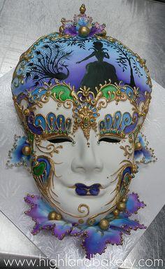 Mardi Gras mask cake