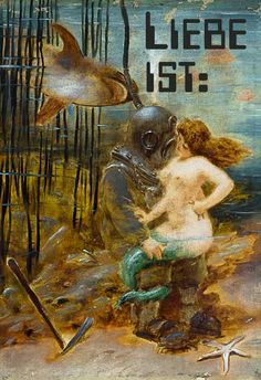 -Deep Sea Diver with a Mermaid and a Shark mit Worten