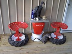 Barstools made from tractor seats and tires. Tractor Seat Bar Stools, Tractor Decor, Furniture Projects, Furniture Making, Diy Furniture, Welding Projects, Craft Projects, Tire Table, Cool Beds For Kids