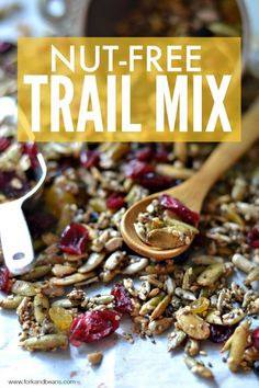 Guide to Seeds (and a Nut-Free Trail Mix Recipe) - Fork and Beans rezepte selber machen mix mix bar mix bar wedding mix recipes mix recipes for kids Gluten Free Snacks, Vegan Snacks, Gluten Free Recipes, Healthy Snacks, Healthy Eating, Primal Recipes, Vegan Food, Vegan Recipes, Nut Free Trail Mix Recipe