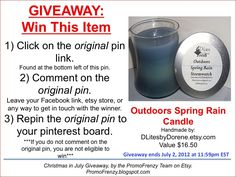GIVEAWAY: To Win This Item from DLitesByDorene, follow the instructions: Click on ORIGINAL pin, comment leaving a way to contact you, REPIN the ORIGINAL Pin! Contest ends 7/2/12 @ 11:59pm EST. Winner announced 7/3/12.