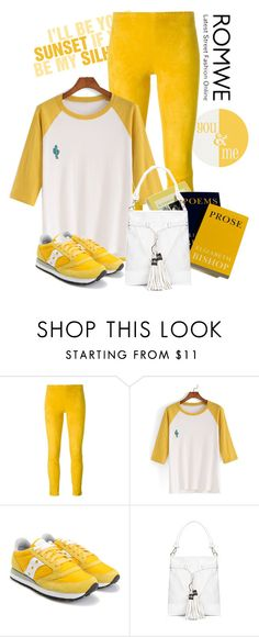 """Romwe color block embroidered t shirt"" by lorrainekeenan ❤ liked on Polyvore featuring STOULS and Saucony"