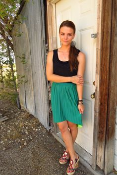 Emerald & neon reversible skirt with a studded black top & colorful wedges