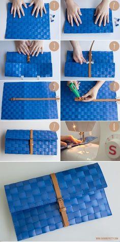 How to make a clutch out of a place mat. Como hacer un cluth de un mantel de mesa.                                                                                                                                                                                 Más