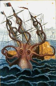 Kraken  The colossal octopus: a drawing by malacologist Pierre Dénys de Montfort (1801) (based on descriptions by French sailors).  Mythology Norse  Grouping Legendary creature  Sub-grouping Sea monster  Country Greenland  Habitat     Greenland Sea  Length      50 m