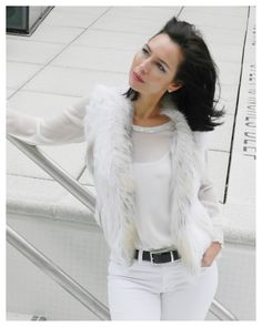 YES to WINTER WHITES!  Off White Fur Vest ($350) and White Georgette Blouse (on Sale). FREE SHIPPING!!    www.annekothari.com