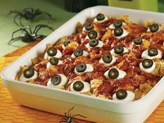 Baked Eyeballs Casserole Recipe | Kitchen Daily - Do without meat sauce for the vegetarian dish?