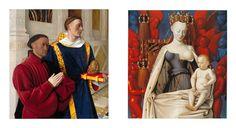 """Jean Fouquet, Melun Diptych. Etienne Chevalier and Saint Stephen (left wing), ca. 1450. Oil on wood, 3' 1/2"""" x 2' 9 1/2"""". Germaldegalerie, Staatliche Museen, Berlin. Virgin and Child (right wing), ca. 1451. Oil on wood. 3' 1 1/4"""" x 2' 9 1/2"""". Koninklijk Museum voor Schone Kunsten, Antwerp."""