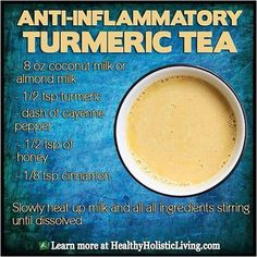 Anti-Inflammatory Turmeric Tea.  This tea will surely knock of any body aches, pain and even helps with arthritic joints! This is a lot better than any other brands of Ibuprofen. Ready to make some of this now? #coconut #turmeric #cayenne #honey #cinnamon
