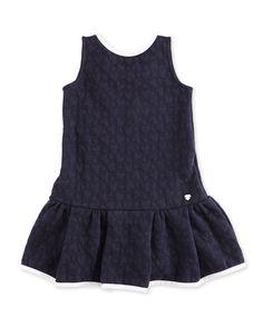 Sleeveless Heart-Jacquard Stretch Dress, Indigo, Size 2-8, Girl's, Size: 8 - Armani Junior