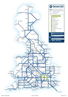 Maps of the National Rail network of Great Britain Train Map, Train Route, England Ireland, England And Scotland, Map Of Britain, Great Britain, London Map, London Travel, National Rail Map