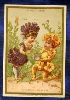 Chromo AU BON Marche Enfant Fleurs Violette Bouton D'OR | eBay