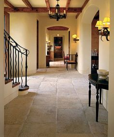 Antique Blond Barre Limestone flooring in stunning pale colors, with rich surface texture. Genuine antique material from the south of France. Flagstone Flooring, Limestone Flooring, Travertine Floors, Tile Flooring, Floor Design, House Design, Style Toscan, Mediterranean Home Decor, Spanish House