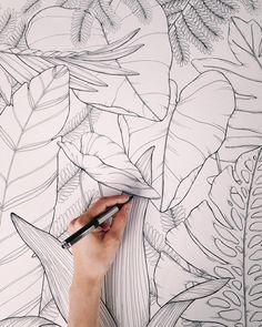 Drawing Flowers & Mandala in Ink - Drawing On Demand Leaf Drawing, Wall Drawing, Plant Drawing, Drawing Flowers, Mural Painting, Mural Art, Wall Murals, Wall Art, Paintings