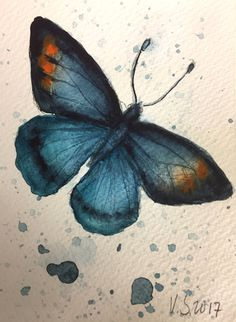 Blue Butterfly ORIGINAL Watercolor Painting- Art-Butterfly Illustration- Gift - 10,5 x 14,8 cm by SleepyBearsArt on Etsy