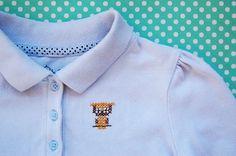 Owl Cross-Stitch Pattern on T-shirt Pinned by www.myowlbarn.com