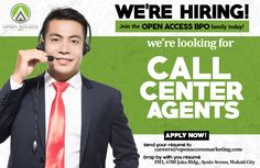 Open Access BPO is in search of #CallCenter agents. If you're interested, send your resume to careers@openaccessmarketing.com to apply and start earning up to Php20,000/month! Click here to view qualifications and job responsibilities!  [ #JobSearch | #JobOpenings | #CallCenterJobs ]