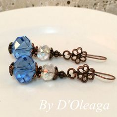 Blue Vintage Copper Earrings-Handmade Jewelry-Vintage Jewelry-Dandle Earrings-Crafted Jewelry-Vintage Earrings-Christmas Gift-Ready to Ship! by DOleaga on Etsy