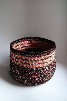 Items similar to Large Black crochet basket Toy Storage, Storage Baskets, Orange Grey, Grey And White, Large Black, Decorative Bowls, Jewelery, Recycling, Crochet Baskets