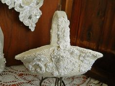 Flower Girl Wedding Basket, handmade of burlap, twine, wedding lace with pearls. $29.95