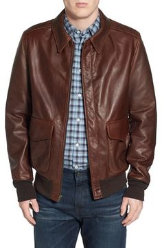 Men's Schott NYC 'A-2' Pebbled Leather Bomber Jacket