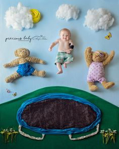 Cute baby boy jumping on a trampoline with 2 bears. The Precious Baby Project, raising awareness for babies with special needs. 6 month old baby boy with brachial plexus injury. Baby ImaginArt by Angela Forker, baby scenes, floor scenes, newborn creative, unique, cute, funny Precious Baby Photography New Haven, Fort Wayne, Indiana