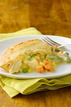 This Impossibly Easy chicken pot pie is full of veggies and chicken in a creamy sauce. A perfect winter meal!