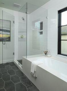 Master Bedroom Bathroom, Modern Master Bathroom, Upstairs Bathrooms, Bathroom Renos, Bathroom Layout, Bathroom Interior Design, Bathroom Renovations, Small Bathroom, Tub To Shower Remodel