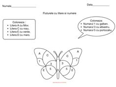Fluturele cu litere si numere. Thing 1, Kids Education, Children, Classroom Ideas, Puzzle, Insects, Early Education, Young Children, Boys